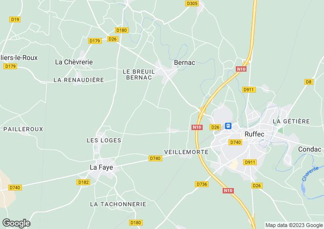 Map for Bernac, Charente, 16700, France