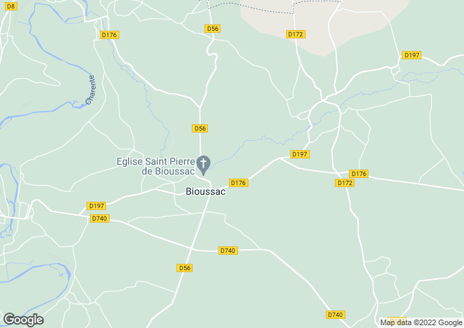 Map for bioussac, Charente, France