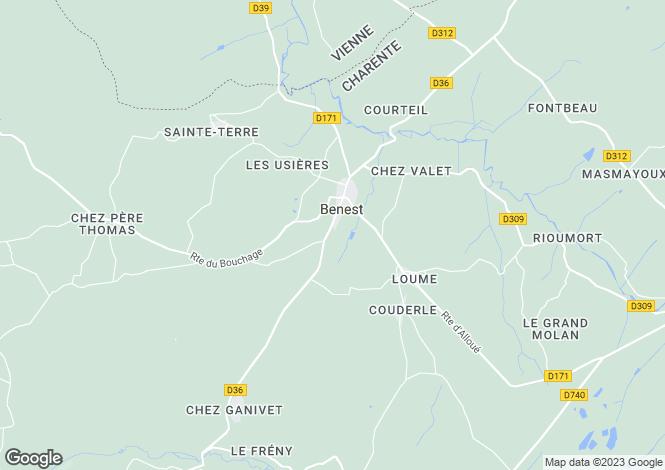 Map for benest, Charente, France