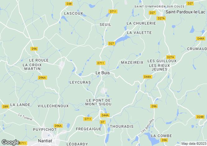 Map for Limousin, Haute-Vienne, Le Buis