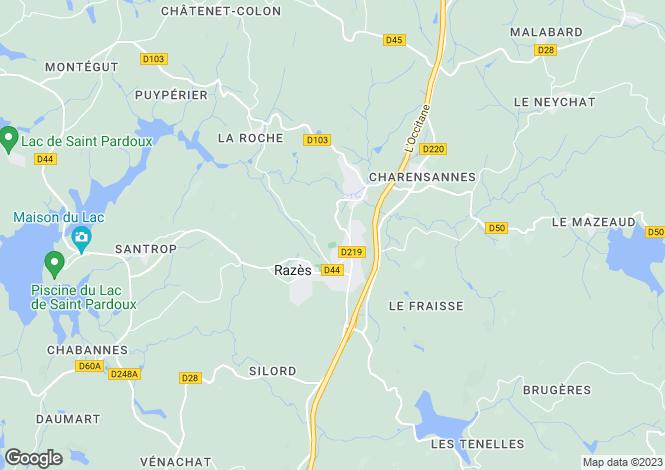 Map for razes, Haute-Vienne, France