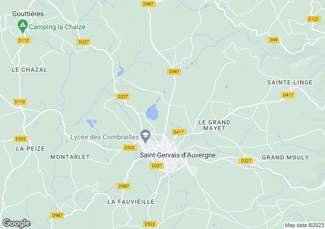 Map for Auvergne, Puy-de-Dôme, St-Gervais-d`Auvergne