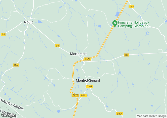 Map for mortemart, Haute-Vienne, France