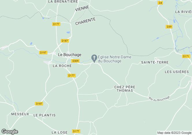 Map for Champagne-Mouton, Poitou-Charentes, 16350, France