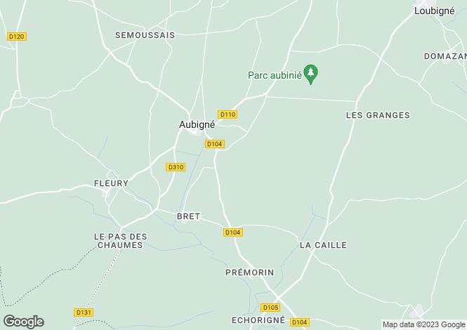 Map for Poitou-Charentes, Deux-Sèvres, Aubigné