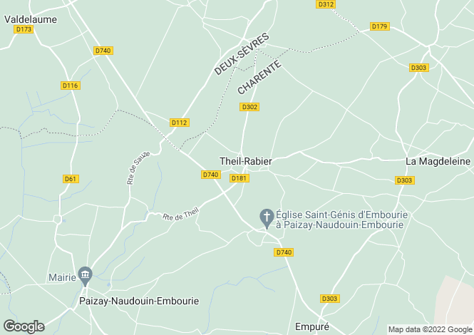Map for theil-rabier, Charente, France