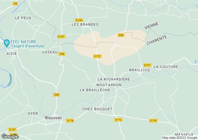 Map for Poitou-Charentes, Charente, Moutardon