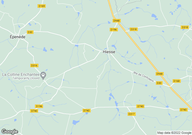 Map for hiesse, Charente, France
