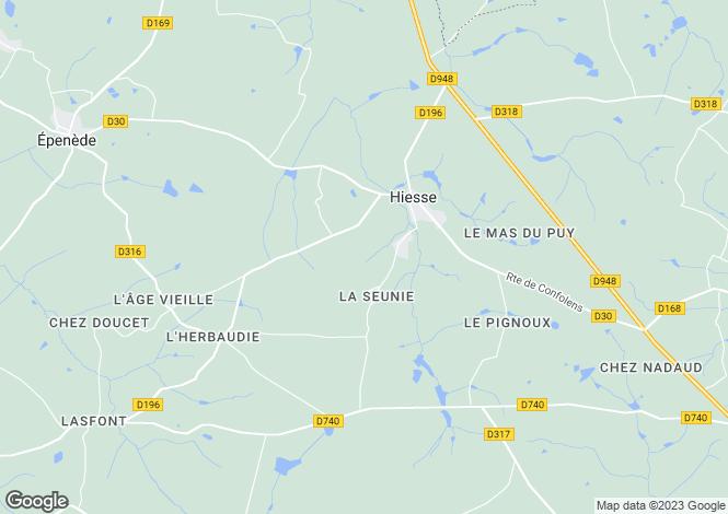 Map for Poitou-Charentes, Charente, Hiesse
