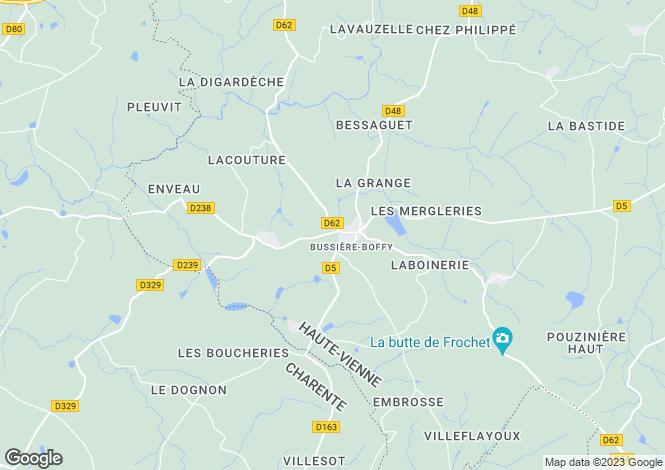 Map for Limousin, Haute-Vienne, Bussière-Boffy