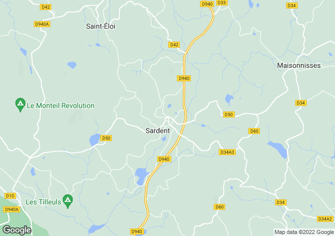 Map for Limousin, Creuse, Sardent