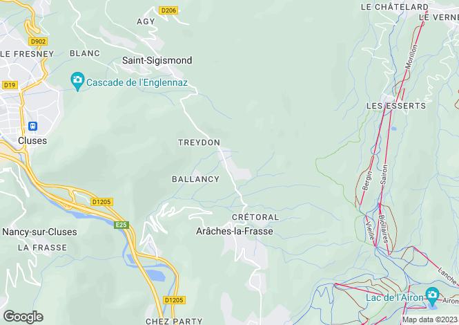 Map for Rhone Alps, Haute-Savoie, Araches la Frasse