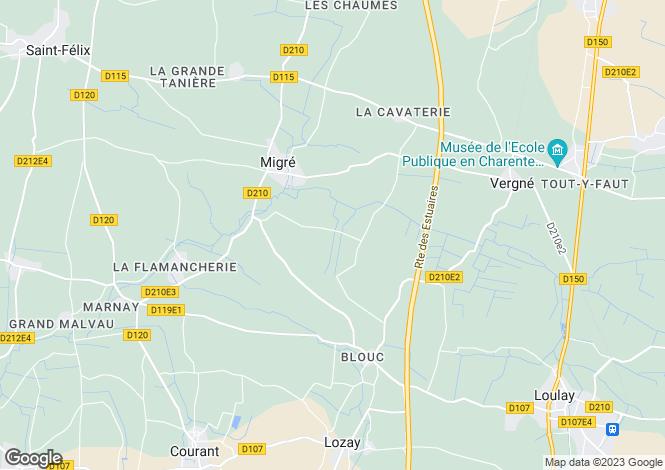 Map for Poitou-Charentes, Charente-Maritime, Migré