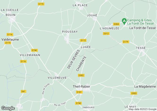 Map for Poitou-Charentes, Deux-Sèvres, Pioussay
