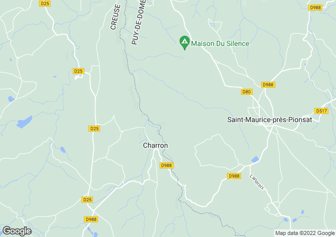 Map for charron, Creuse, France