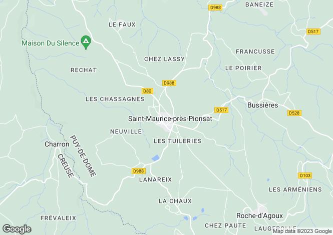 Map for Auvergne, Puy-de-Dôme, St-Maurice-près-Pionsat