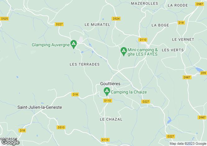 Map for gouttieres, Puy-de-Dôme, France