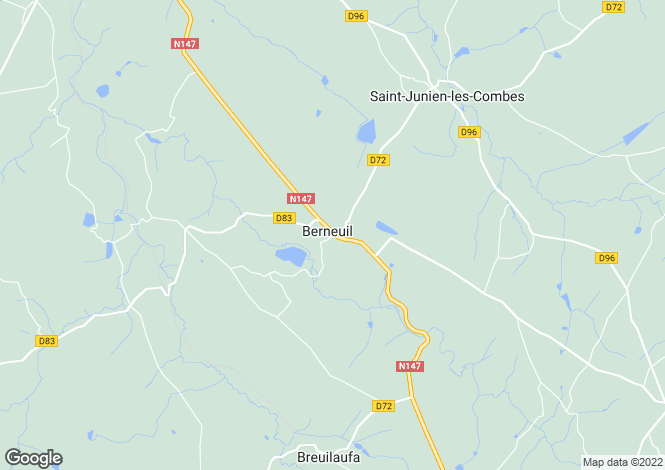Map for berneuil, Haute-Vienne, France
