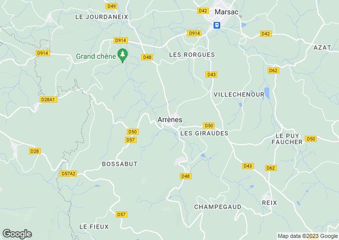 Map for arrenes, Creuse, France