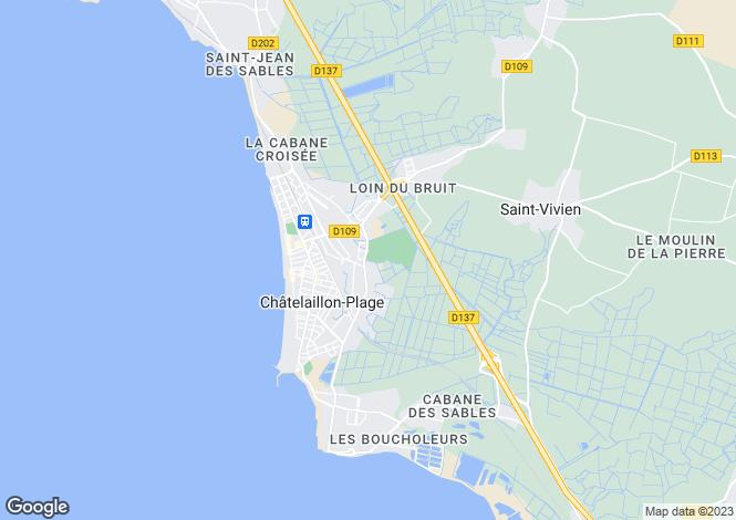 Map for Châtelaillon-Plage, Charente-Maritime, Poitou-Charentes