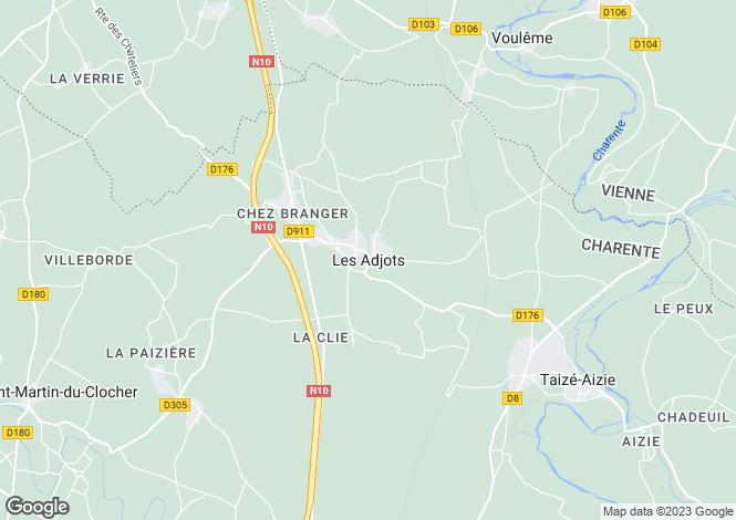 Map for Les Adjots, Poitou-Charentes, 16700, France