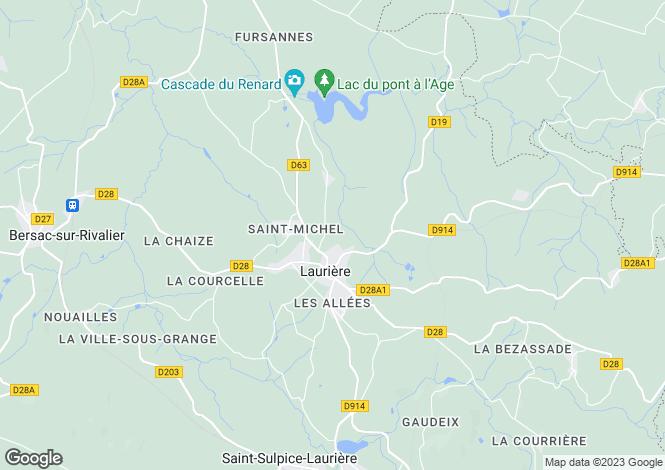 Map for Limousin, Haute-Vienne, Laurière