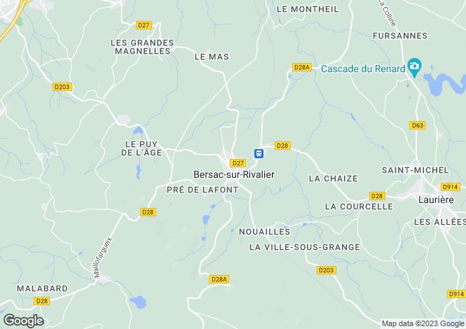 Map for Limousin, Haute-Vienne, Bersac-sur-Rivalier