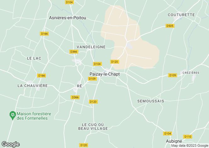 Map for Poitou-Charentes, Deux-Sèvres, Paizay-le-Chapt