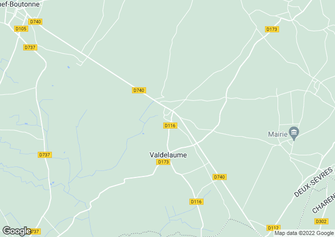 Map for Poitou-Charentes, Deux-Sèvres, Hanc
