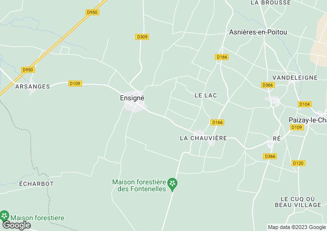 Map for Poitou-Charentes, Deux-Sèvres, Ensigné