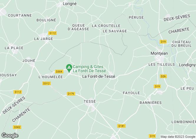 Map for Poitou-Charentes, Charente, La Forêt-de-Tessé