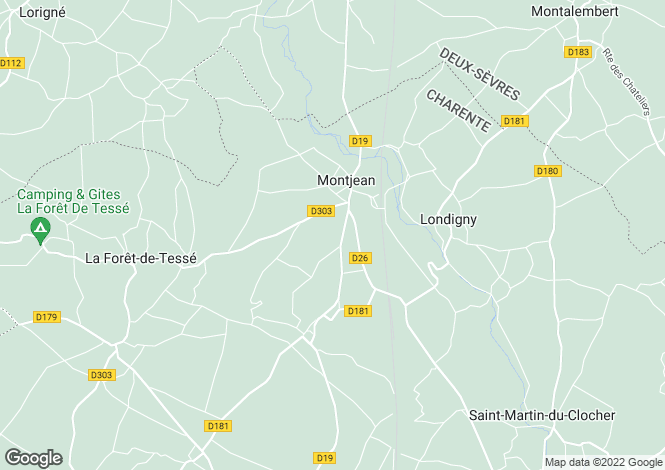 Map for montjean, Charente, France