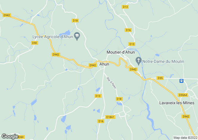 Map for ahun, Creuse, France