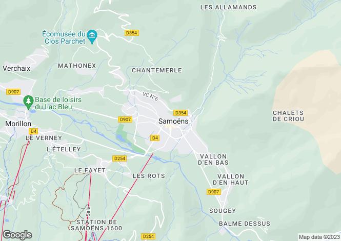 Map for Rhone Alps, Haute-Savoie, Samoëns