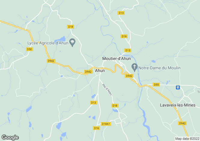 Map for Secteur: Ahun, Creuse