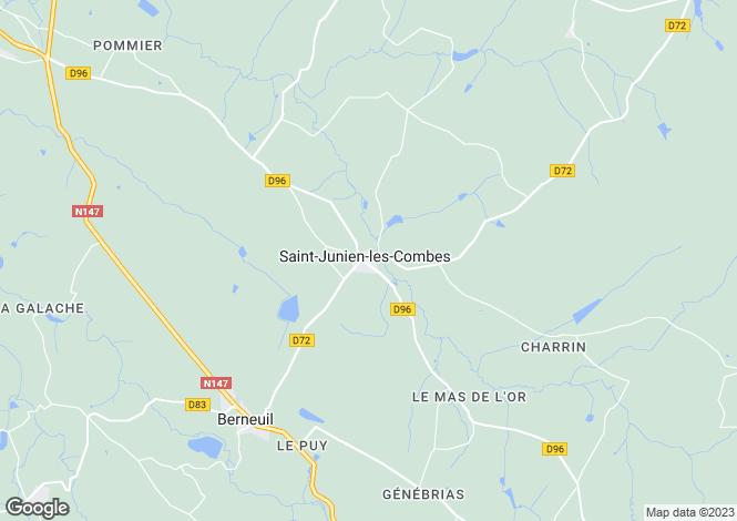 Map for st-junien-les-combes, Haute-Vienne, France