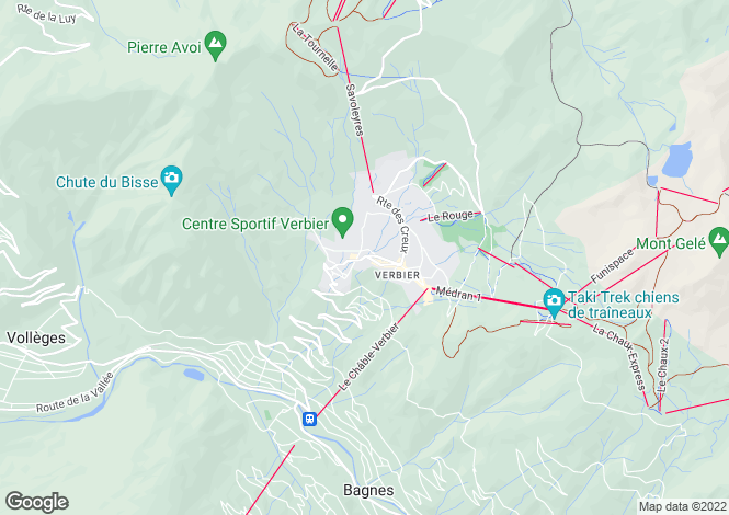 Map for Valais, Verbier