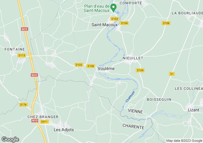 Map for Vouleme, Poitou-Charentes, 86400, France