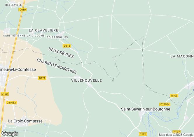 Map for Poitou-Charentes, Charente-Maritime, Villenouvelle