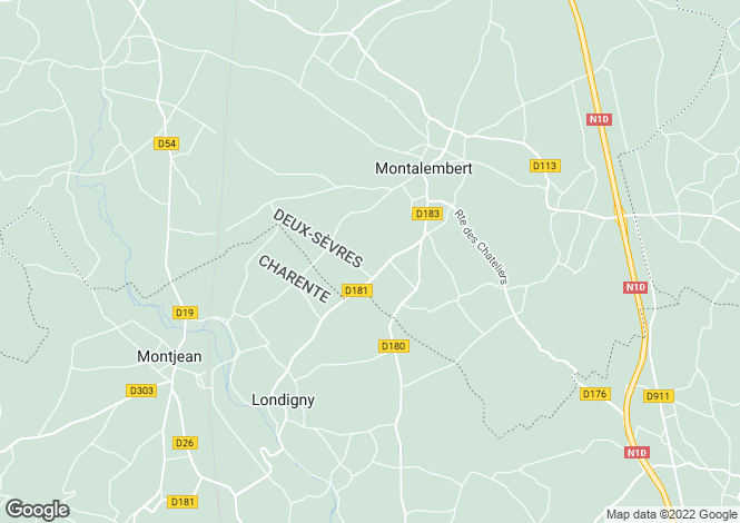 Map for Poitou-Charentes, Deux-Sèvres, Montalembert