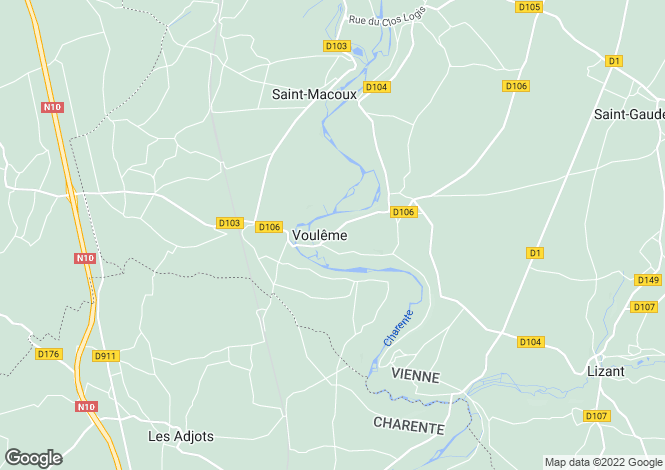 Map for vouleme, Vienne, France