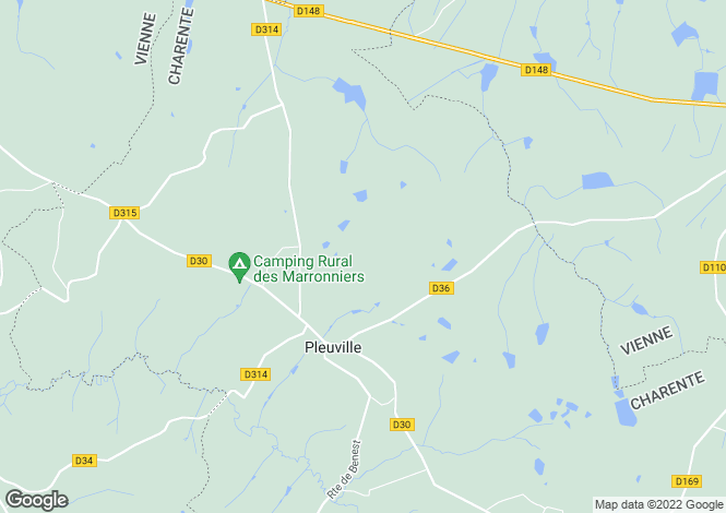Map for Poitou-Charentes, Charente, Pleuville