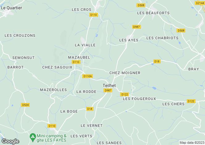 Map for Auvergne, Puy-de-Dôme, Teilhet