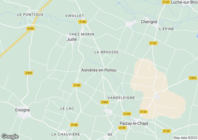 Map for Poitou-Charentes, Deux-Sèvres, Asnières-en-Poitou