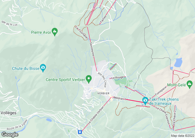Map for Verbier, Valais