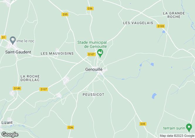 Map for Genouillé, Vienne, 86250, France
