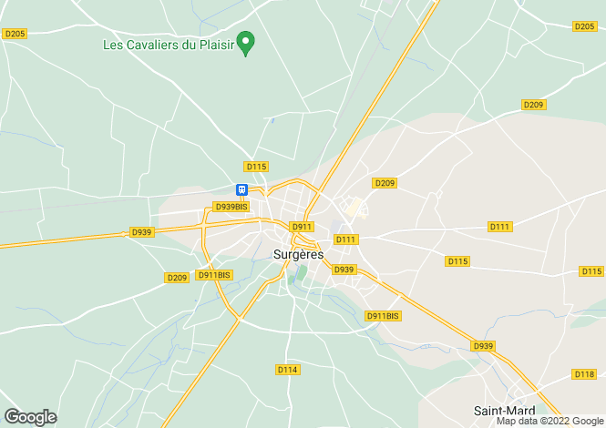 Map for surgeres, Charente-Maritime, France