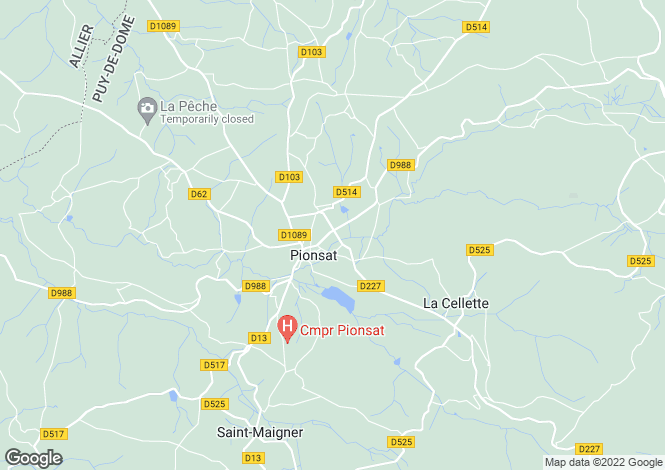 Map for Auvergne, Puy-de-Dôme, Pionsat
