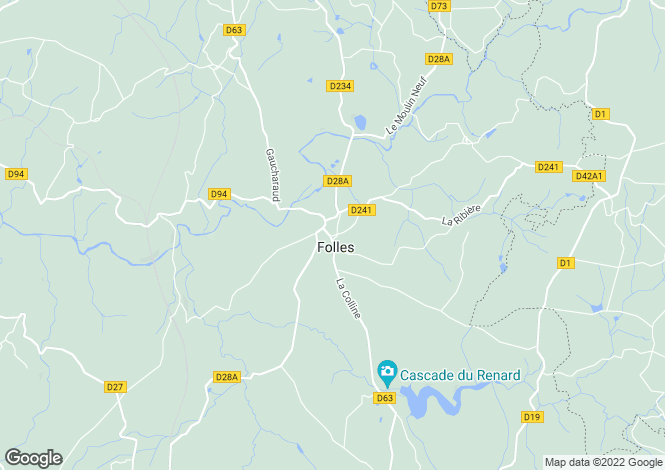 Map for folles, Haute-Vienne, France
