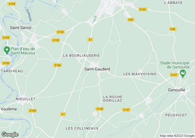 Map for Saint Gaudent, Poitou-Charentes, 86400, France